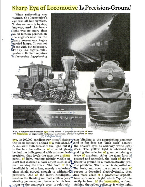 an articles about locomotive headlight in 30s