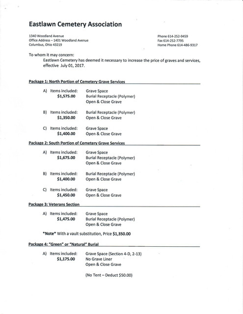 Eastlawn Cemetery Pricelist2017 Scan 1