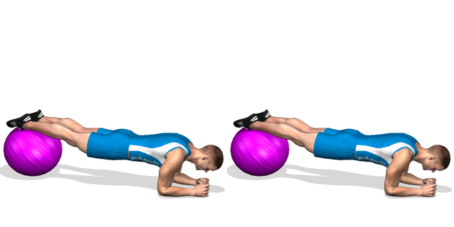 Plank gambe su fitball