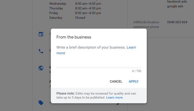 nastavenie popisu google my business
