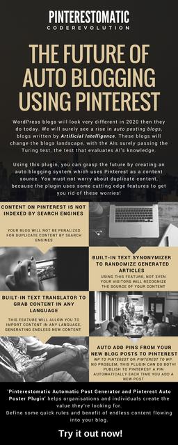 Pinterestomatic Automatic Post Generator and Pinterest Auto Poster Plugin for WordPress