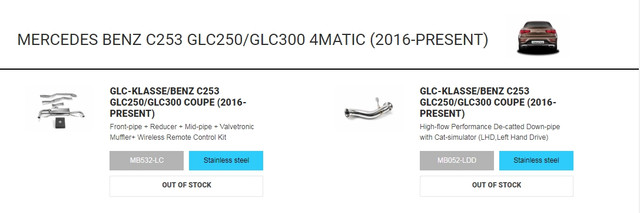 mercedes benz glc300 glc250 armytrix exhaust tuning price for sale 1