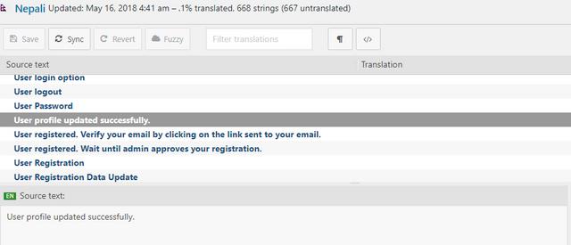 user profile translatable