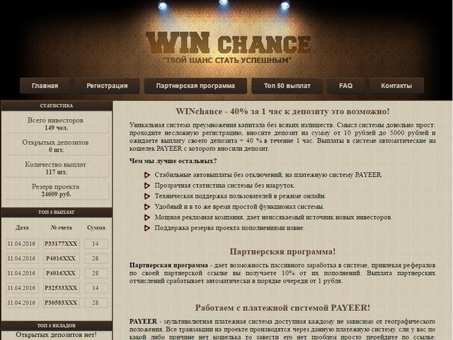 Скрипт инвестиционного проекта WinChance