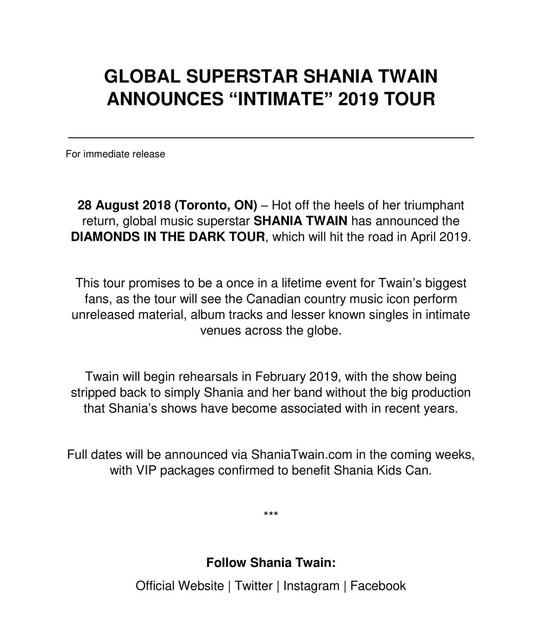 shania diamondsinthedarktour pressrelease