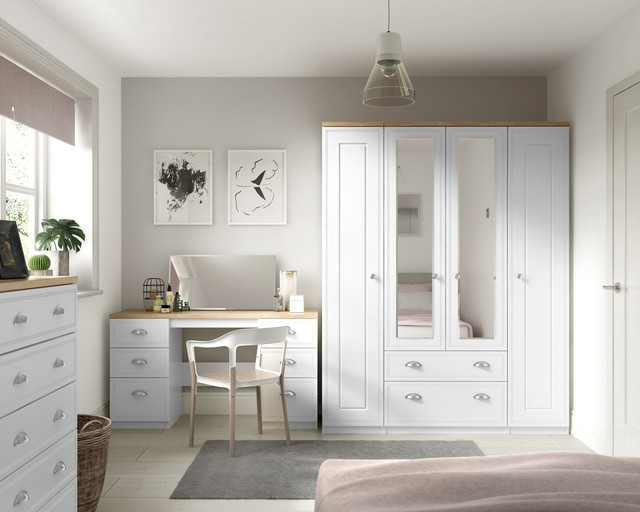 Details about Venice White Wardrobe Chest Of Drawers Set Ready Assembled  Bedroom Furniture UK
