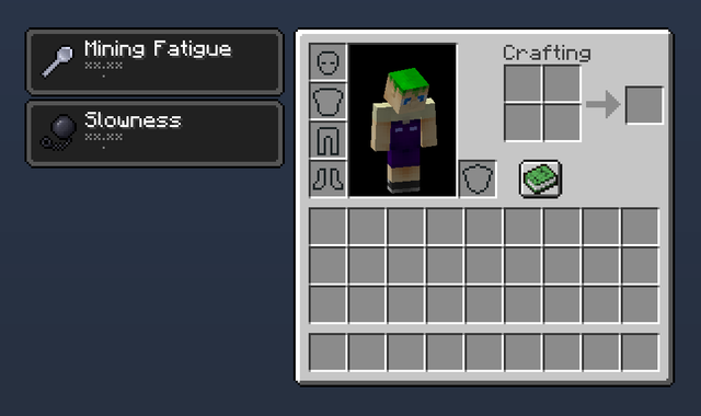 (Image of a player with Mining Fatigue and Slowness permanent effects)
