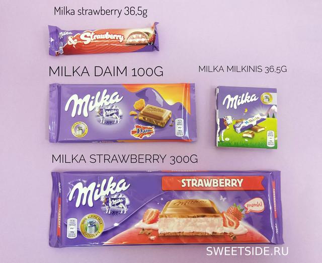 Сравнение размеров шоколада