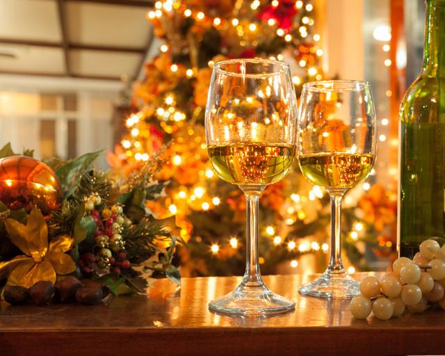Christmas tree Christmas lights Wine Glasses