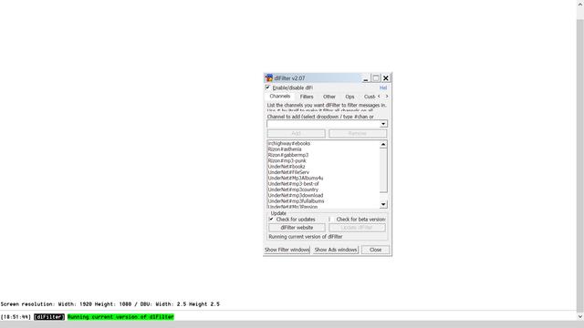 Screen shot of mIRC dialog with Windows Display Scaling at 150%