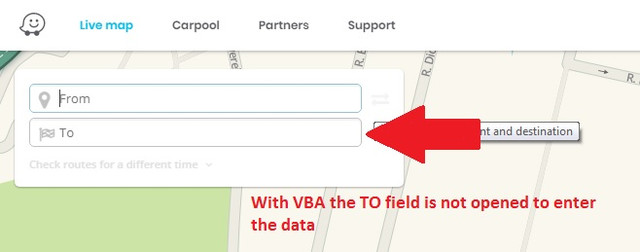 Send data from Excel/VBA to WAZE LIVEMAPS