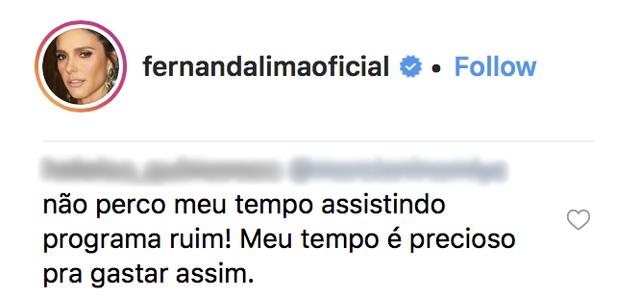 """""""Vaza Satanás"""": Fernanda Lima perde o rebolado, rebate internauta e seguidores saem em defesa do programa"""