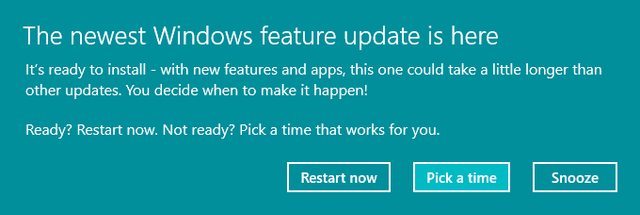 The newest Windows feature update is here as shown 7/28/2017 for version 1703 on version 1607.