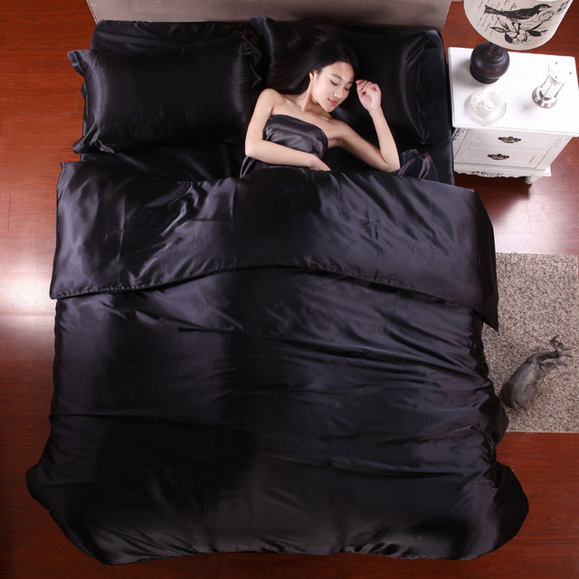 Pure Satin Silk Twin Queen King Duvet Cover Bedding