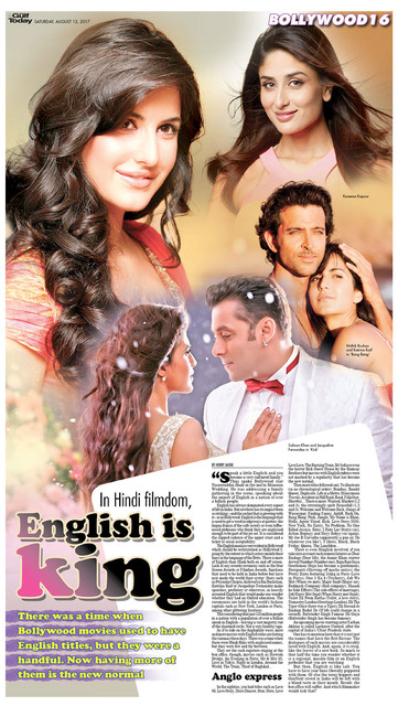 gulftoday ae | In Hindi filmdom, English is king