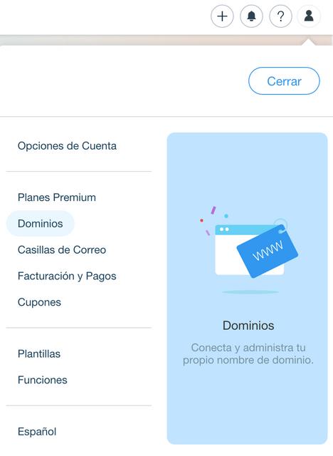Conectar tu dominio a tu sitio Wix