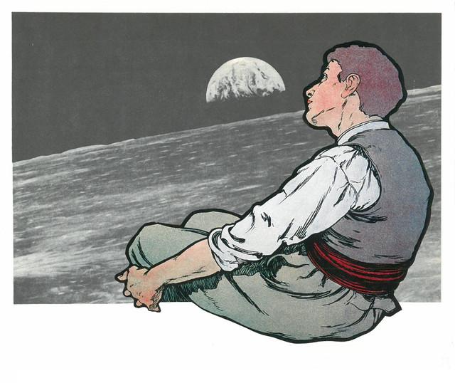 człowiek patrzy na Ziemię
