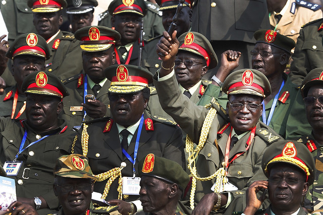 Generals of South Sudan s army celebrate during official independence day ceremonies After two decad