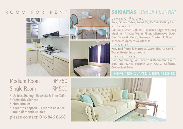 Newly Refurbished Room for Rent! Fully-furnished  Room_to_let_29july17_01