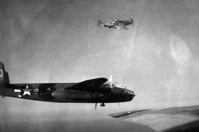 P 51 D of the 325th FG escorting a 12th AF B 25 J 340 BG over Italy during 1945