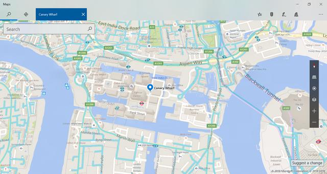 Bing Maps Canary Wharf street side coverage