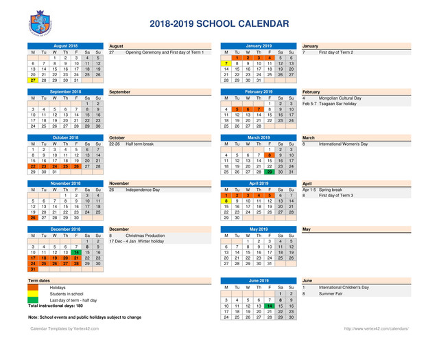 2018 2019 school calendar parents 1