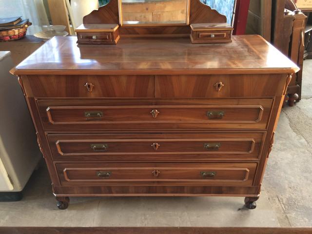 Antico com cassettiera intarsiato legno con specchio - Cassettiera con specchio ...