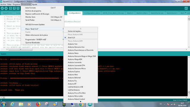 IDE arduino 1 8 0 con Anet v1