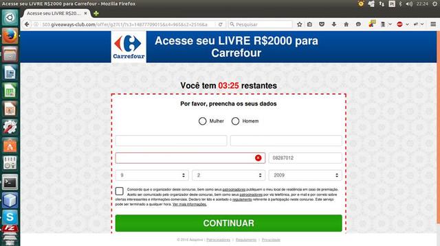 print que encontrei esse phishing em 2016, propondo promoções em nome da empresa Carrefour