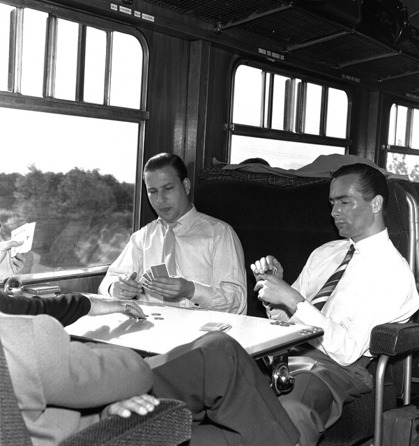 1962_L_R_Bassoonist_Dieter_Prodohl_and_Kure_Goedicke_timpanist_on_train_to_Cork_for_a_season_concert_1962