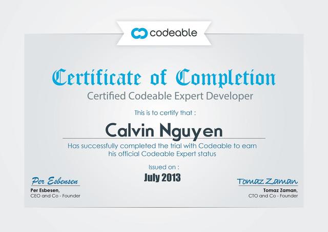 Calvin's Certificate