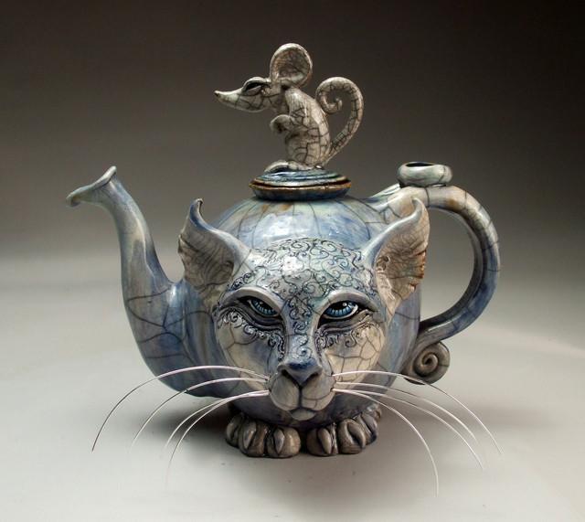 Blue Cat And Mouse Teapot Face Jug Folk Art Raku Pottery