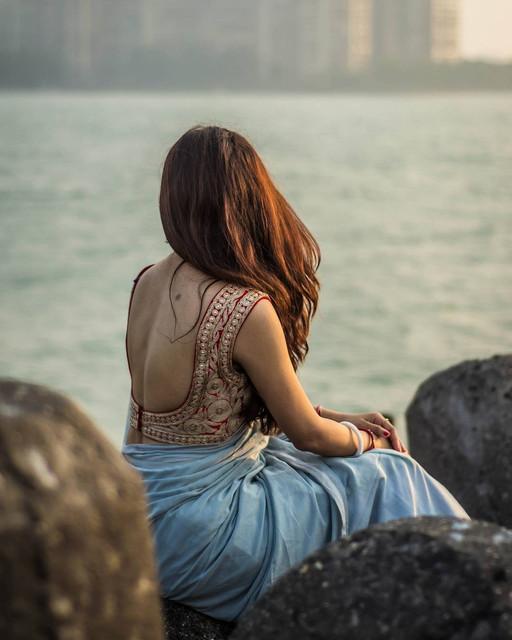 sensual saree blouse back