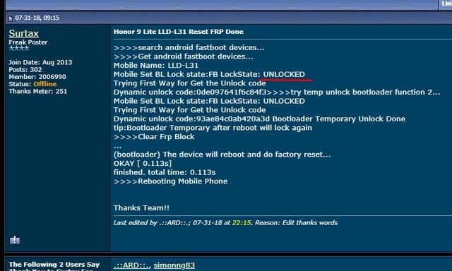 Honor 9 Lite LLD-L31 reset frp failed - GSM-Forum