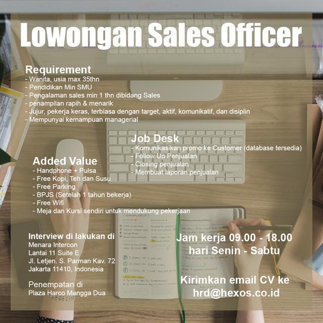 Lowongan Sales Officer (Gaji + Komisi sampai 10%) Kerja di kantor