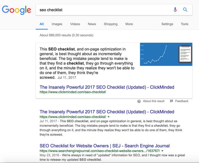 SEO checklist Google top result