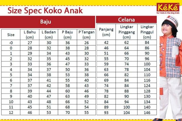 Size Chart Baju Koko Anak Keke