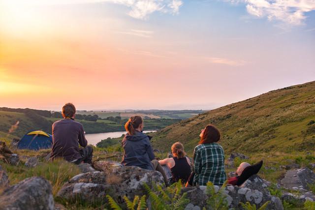Sunset friends wild camping dartmoor meldon reservoir