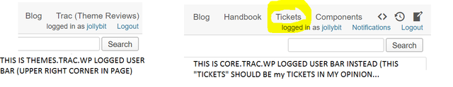 logged user different behaviour in trac core and themes