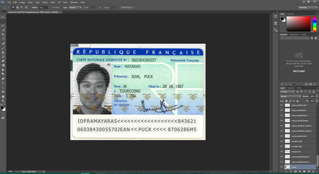 France ID Card PSD Template