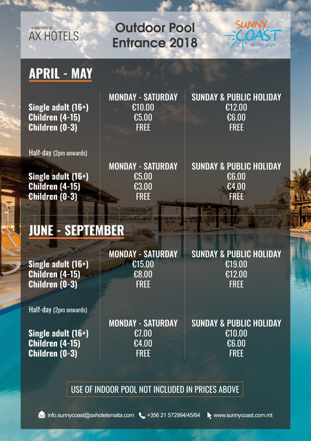 Sunny Coast Leisure Club - Outdoor Pool Prices 2018
