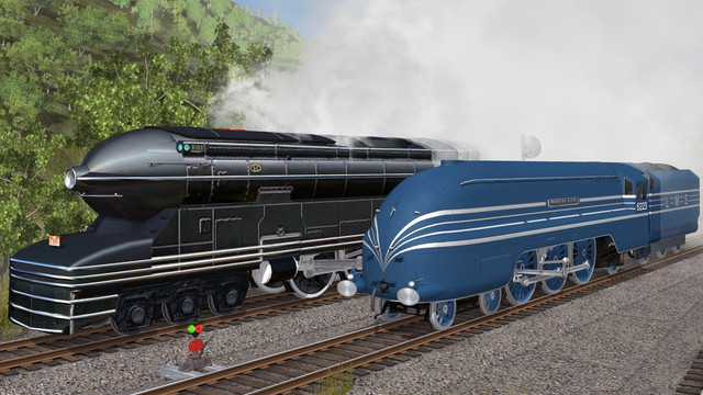 PRR S1 and LMS Coronation in the game TrainZ