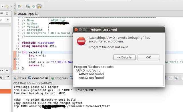 error while atempting to debug