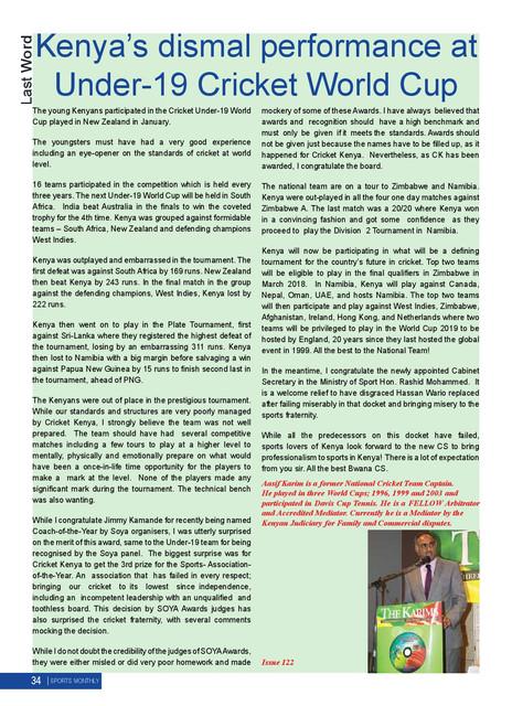 afac28a7 Kenyas dismal perfomance at Under-19 Cricket World Cup