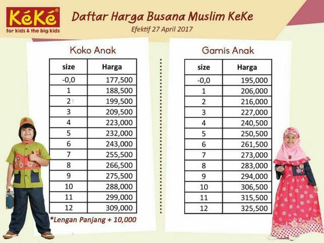 Pricelist Baju Muslim Anak Keke