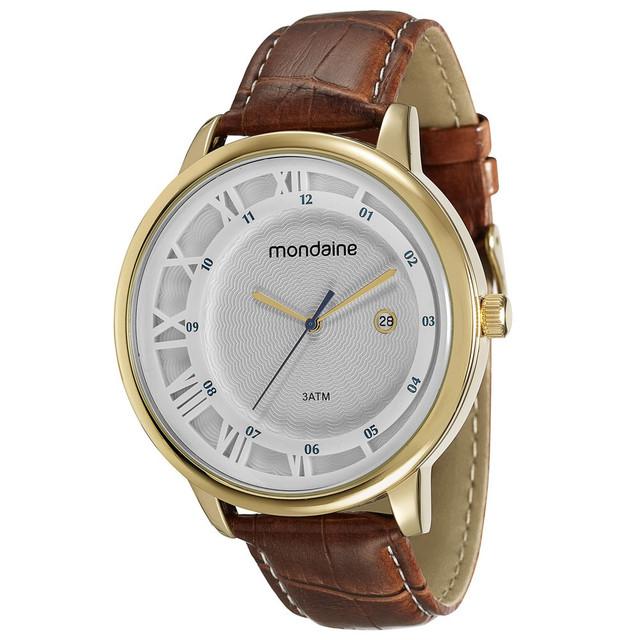 3e61893f95b  Ricardinho Baratinho  Relógio Mondaine masc Couro Dourado caixa 50 mm...R   53