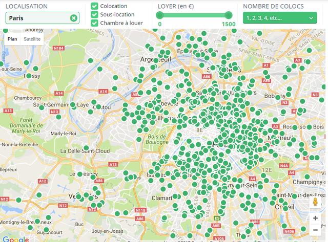 Carte des Colocs map Paris