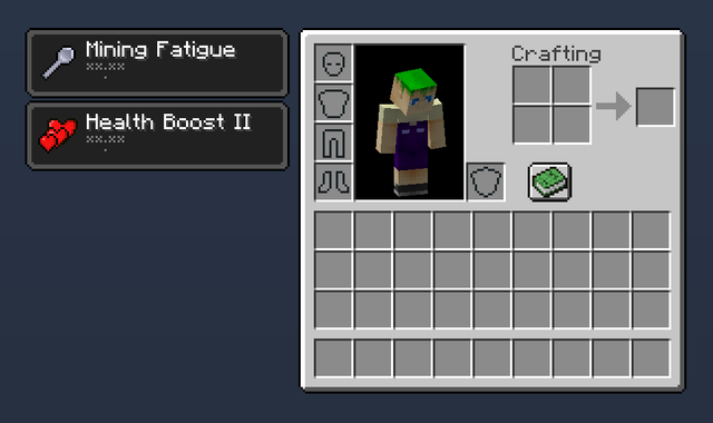(Image showing player with Mining Fatigue and Health Boost II permanent effects)
