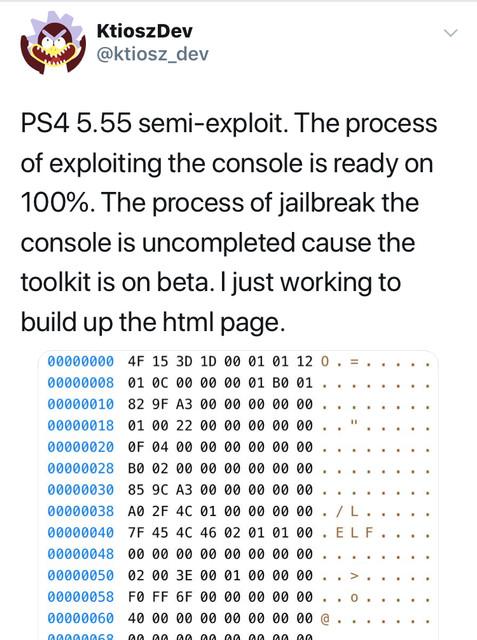 المطور ktioszDev غرد ع التوتر انه يعمل ع  semi-exploit لل5.55 وان الإجراءات لاستغلال الثغرة جاهزة بنسبة 100% وحاليا يعمل ع تجه