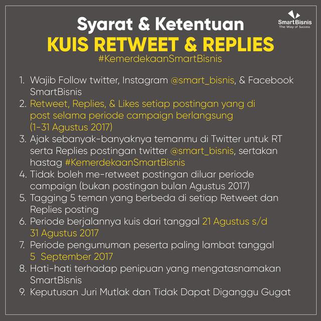 Kuis Retweet & Replies Semarak #KemerdekaanSmartBisnis - syarat dan ketentuan - smartbisnis - Ajeng Kusuma Wardhani
